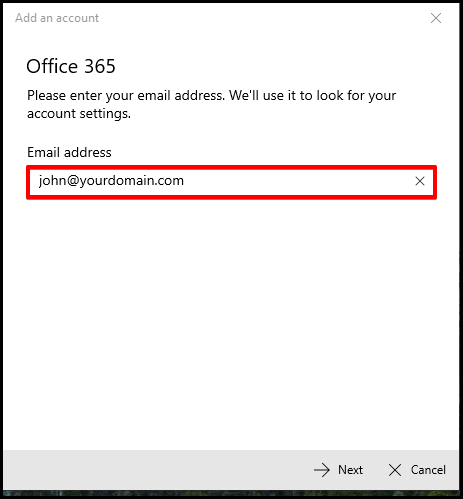Enter Email Address in Windows Mail