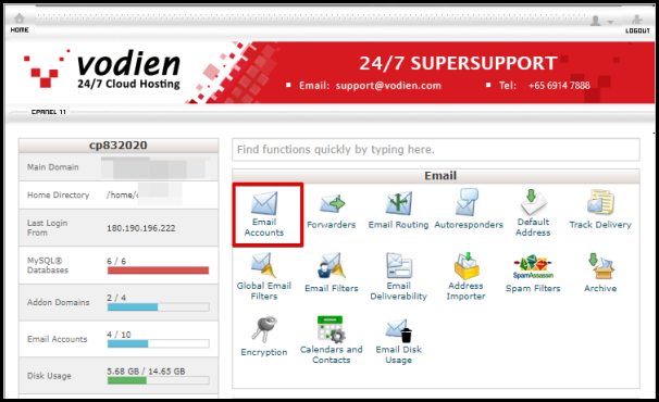 Email Accounts Option in cPanel
