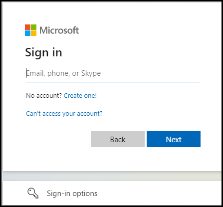 Email Field in Microsoft Login Page