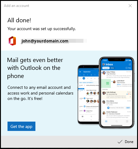 Windows Mail Exchange Successfully Set up