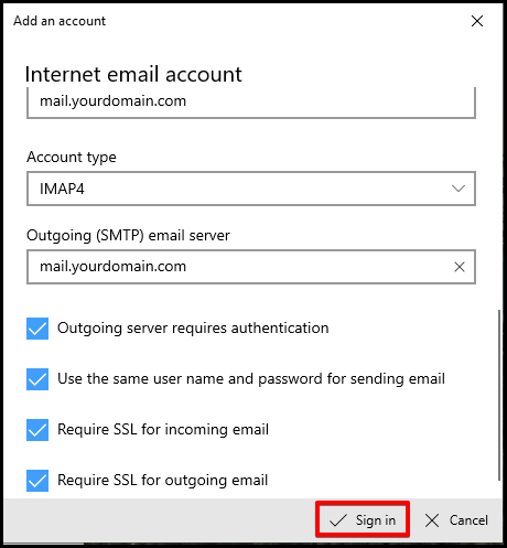 Windows Mail Sign in Button
