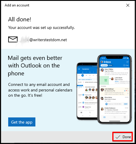 Windows Mail Successfully Setup Message