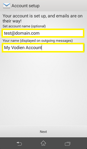 Email account setup Android