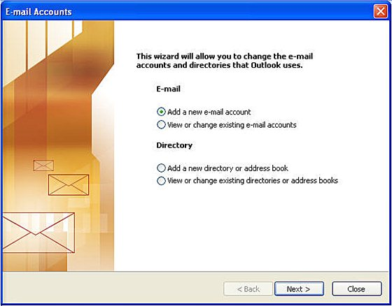 Outlook 2003 email setup