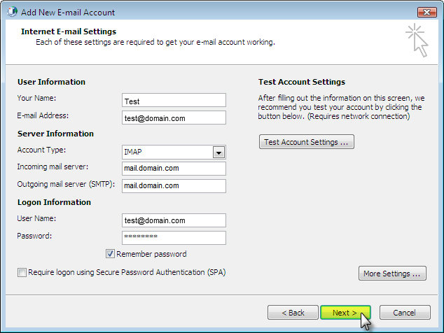 Set up email with Outlook 2007