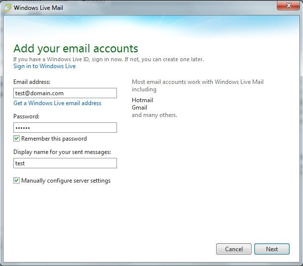 Set up email with Windows Live Mail
