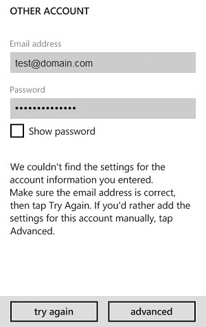 Email setup windows phone