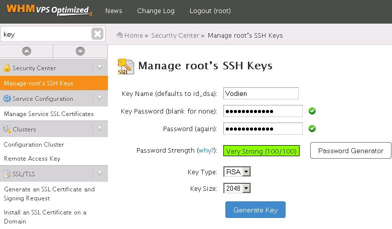 SSH access using key pair